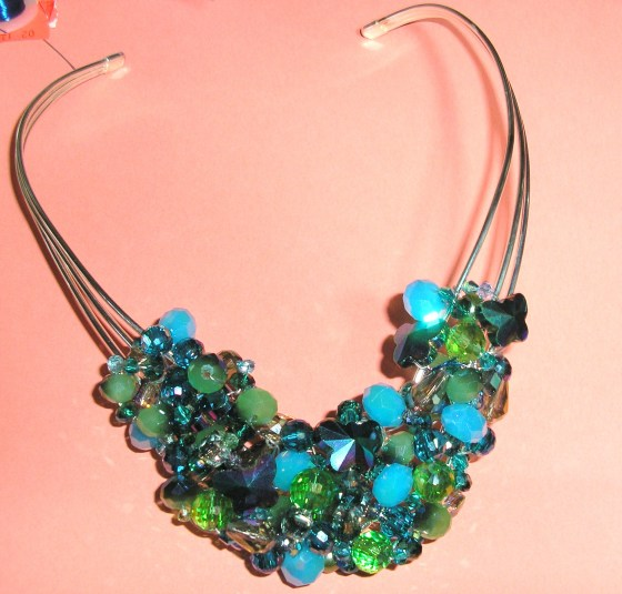 Blue and Green Cluster Necklace